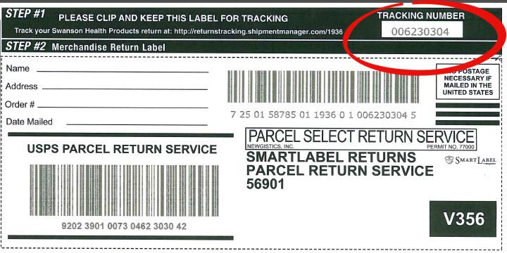 Merchandise Return Label