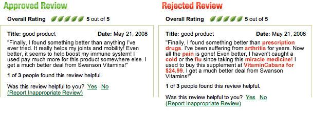 Good and bad review example