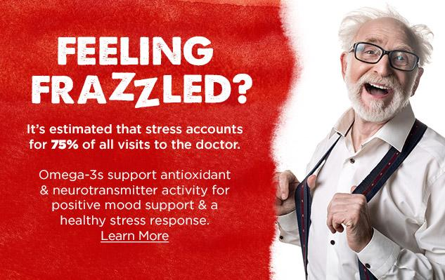 It's estimated that stress accounts for 75% of all visits to the doctor - Learn more about Omega-3 Fish Oil