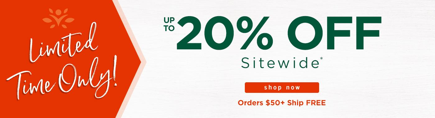 Up to 20% off Sitewide