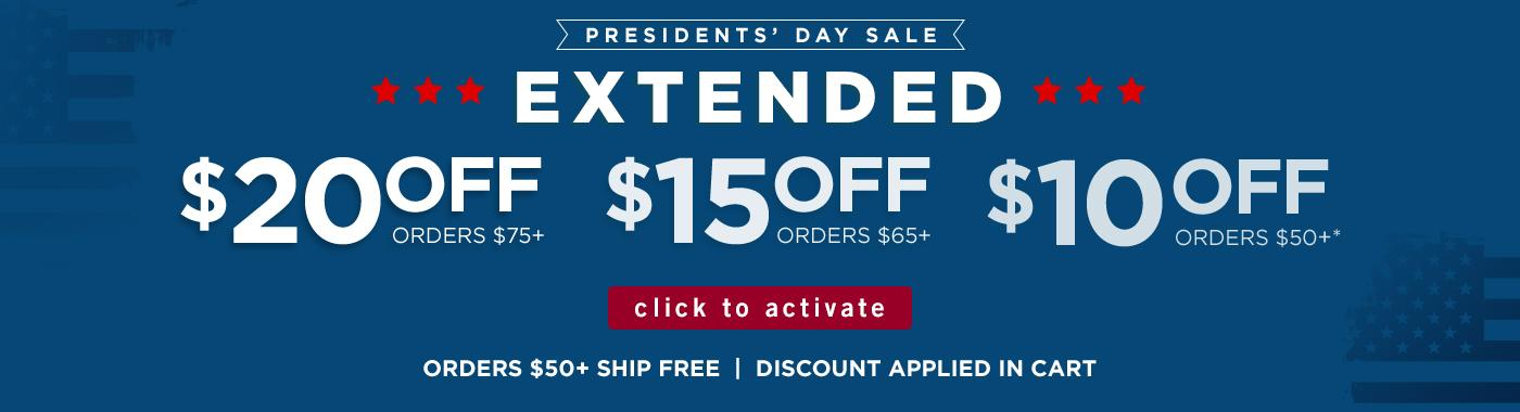 $20 off $75 + | $15 off $65+ | $10 off $50+