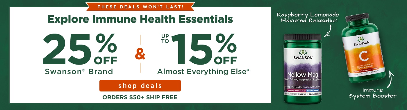 25% off Swanson brand and up to 15% off almost everything else