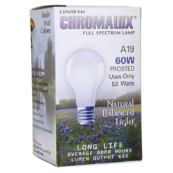 ChromaluxFull Spectrum Lamp Light Bulb - A19 Frosted 60W