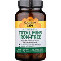 Country Life Target-Mins Total Mins Iron-Free