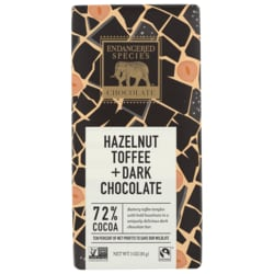 Endangered Species ChocolateDark Chocolate with Hazelnut Toffee 72% Cocoa