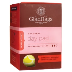 GladRagsColored Reusable Cotton Day Pads for Menstruation