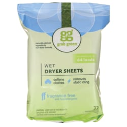 GrabGreenWet Dryer Sheets - Fragrance Free