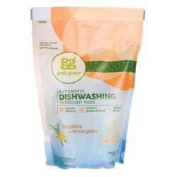 GrabGreenAuto Dishwashing Detergent Pods - Tangerine with Lemongrass