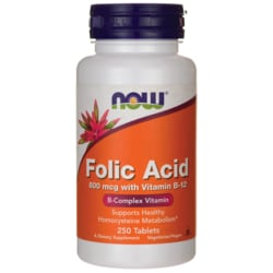 NOW Foods Folic Acid 800 mcg with Vitamin B-12