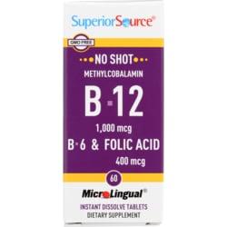 Superior Source B-12 Methylcobalamin with B-6 & Folic Acid