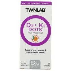Twinlab Vitamin D3 1000 + K2 Dots