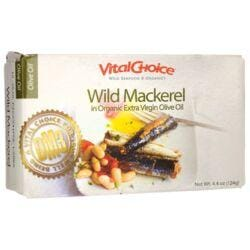 Vital ChoiceWild Mackerel in Organic Extra Virgin Olive Oil