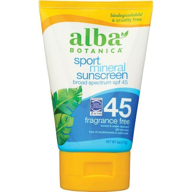 Alba BotanicaSport Mineral Sunscreen SPF 45 - Fragrance Free