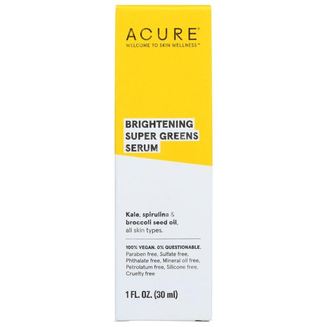 Acure Brightening Super Greens Serum 1 Fl Oz Serum
