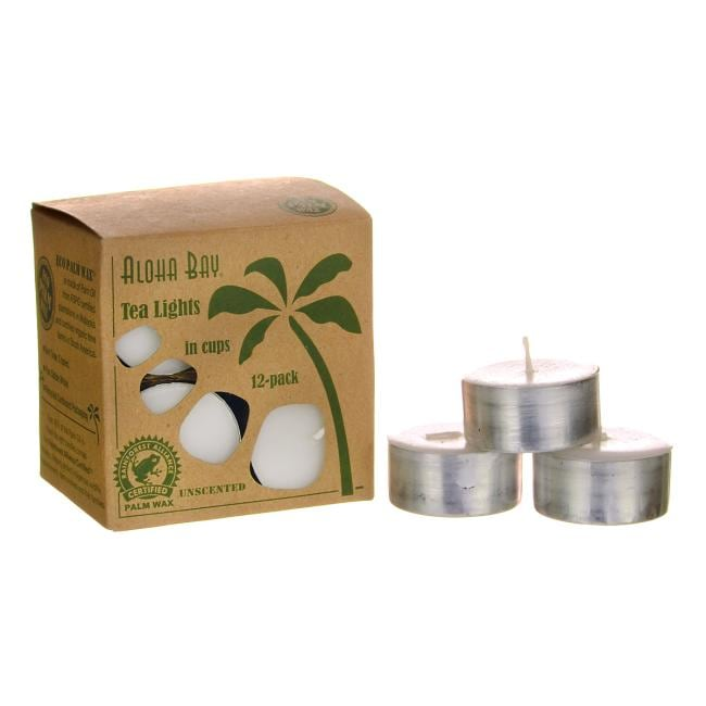 Aloha BayPalm Wax Tea Light Candles Unscented - White