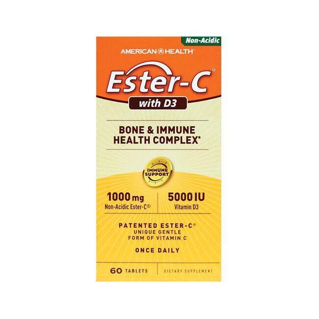 American Health Ester-C with D3 60 Tabs Bone Health