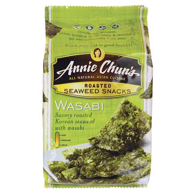 Annie Chun'sRoasted Seaweed Snacks - Wasabi Close Up