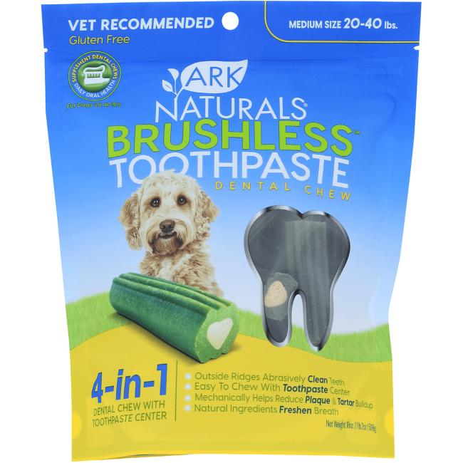 Ark Naturals Breath-Less Chewable Brushless-Toothpaste - M/LG Dog
