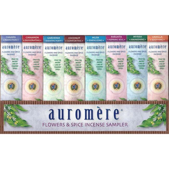 Auromere Flowers & Spice Incense 8-Fragrance Sampler