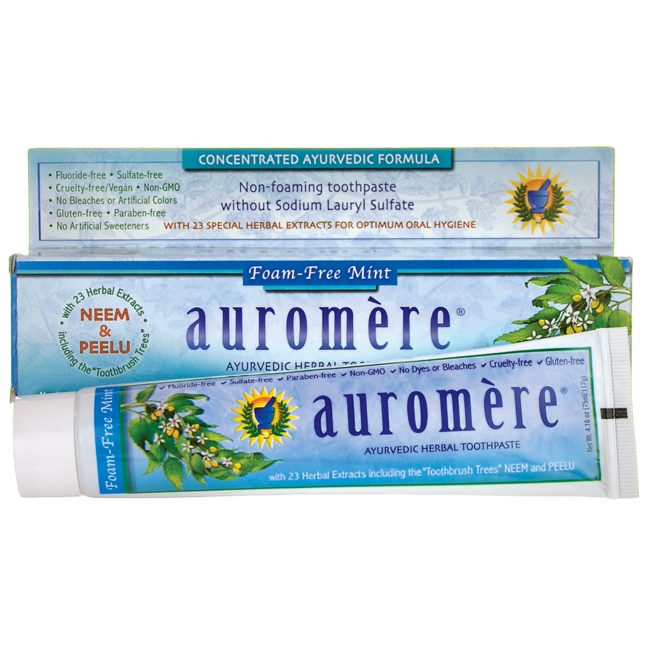 AuromereAyurvedic Herbal Toothpaste - Foam-Free Mint