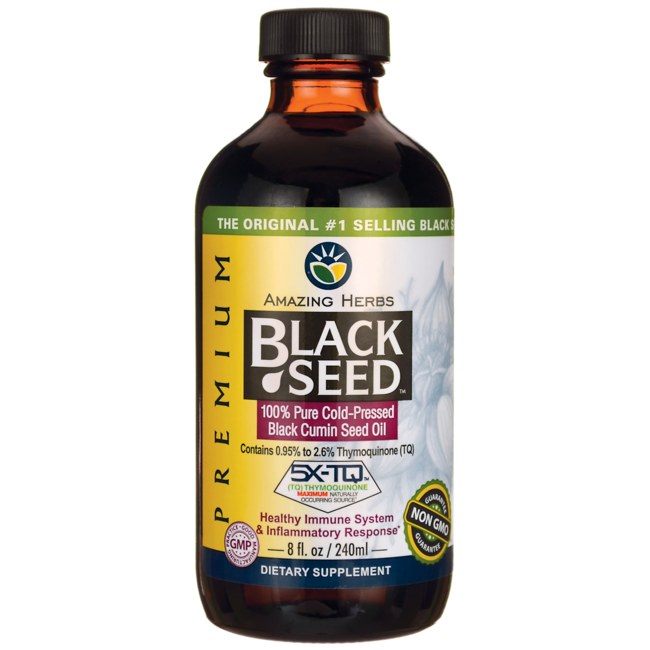 Amazing HerbsBlack Seed 100% Pure Cold-Pressed Black Cumin Seed Oil