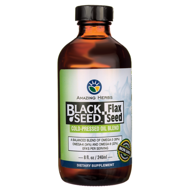 Amazing HerbsBlack Seed Flax Seed Cold-Pressed Oil Blend