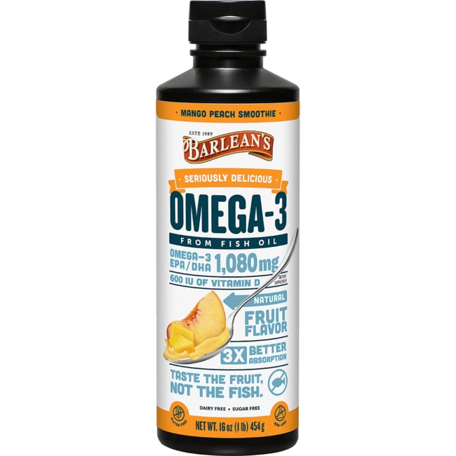 Barlean's Omega Swirl Fish Oil with Vitamin D Mango Peach