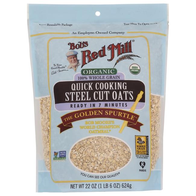 Bob's Red Mill Organic Quick Cooking Steel Cut Oats 22 oz Pk