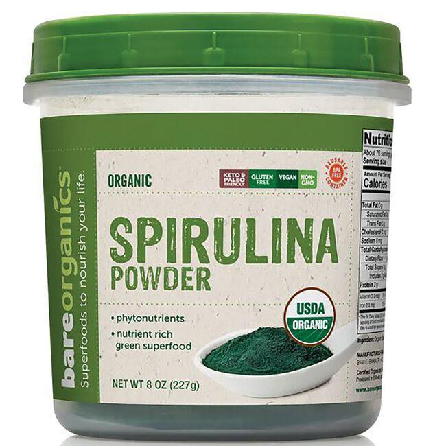 BareOrganicsRaw Organic Spirulina Powder