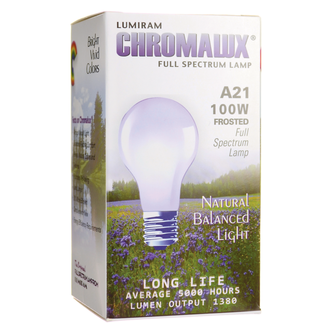 ChromaluxFull Spectrum Lamp Light Bulb - A21 Frosted 100W