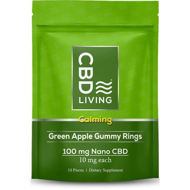 CBD Living CBD Calming Gummy Rings - Green Apple