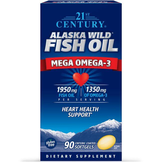 """Supports a healthy heart Free from harmful toxins Enteric coated softgels prevent """"fish burps"""" 21st Century Alaska Wild Fish Oil Mega Omega-3 90 Soft Gels Essential Fatty Acids Sold by Swanson Vitamins"""