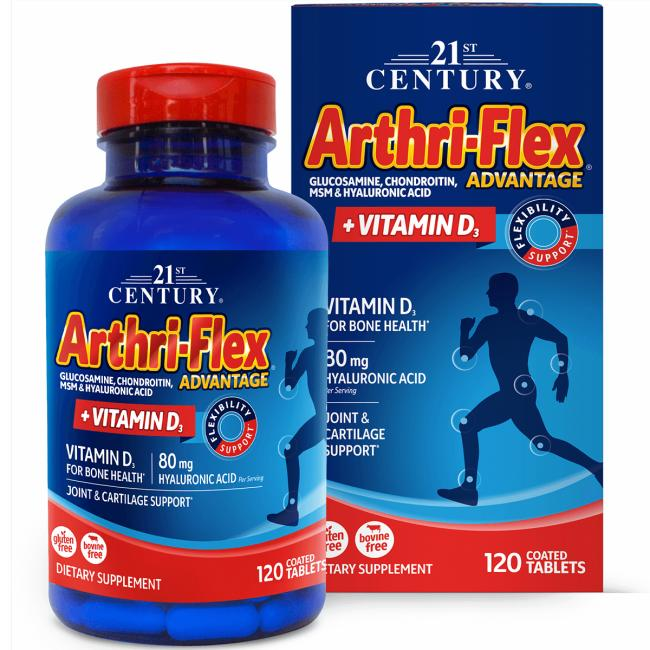 Arthri-Flex Advantage + Vitamin D3 provides support for joints and cartilage With 80mg of hyaluronic acid No added sugar, yeast, starch, soy, corn, dairy, gluten, preservatives or artificial flavors 21st Century Arthri-Flex Advantage + Vitamin D3 120 Tabs Joint Health Sold by Swanson Vitamins