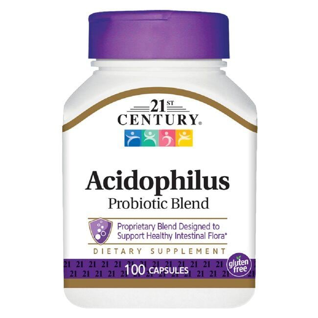 Acidophilus probiotic supplement from 21st Century Supports healthy digestion and intestinal flora Combined with 3 other probiotic organisms and FOS prebiotic 21st Century Acidophilus Probiotic Blend 100 Caps Sold by Swanson Vitamins