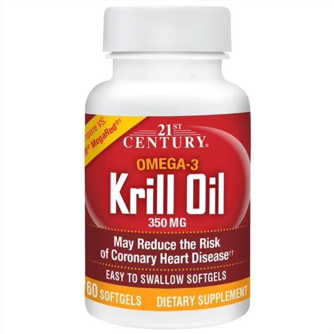 21st Century Krill Oil 350 mg 60 Soft Gels Essential Fatty Acids