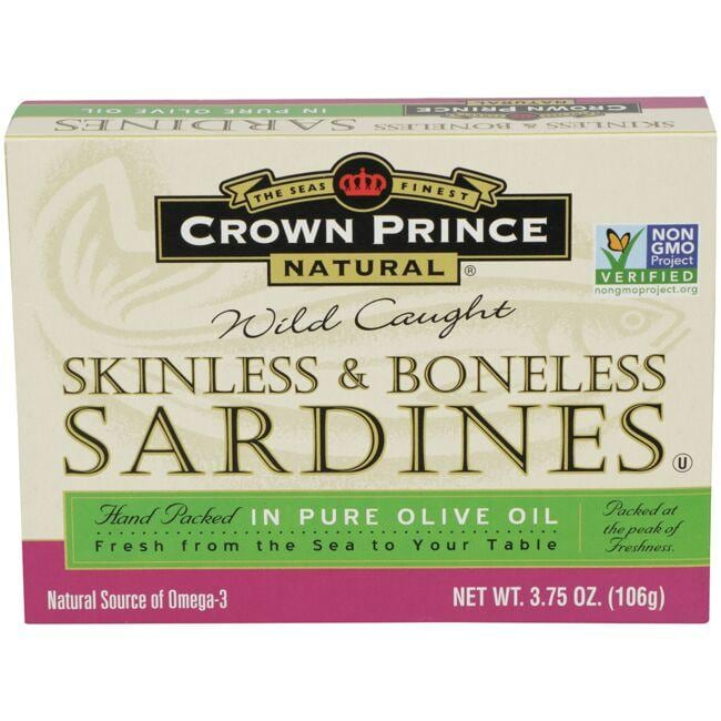 Crown Prince Wild Caught Skinless & Boneless Sardines in Pure Olive Oil