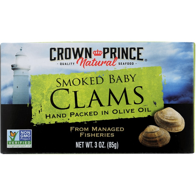 Crown PrinceWild Caught Smoked Baby Clams in Olive Oil