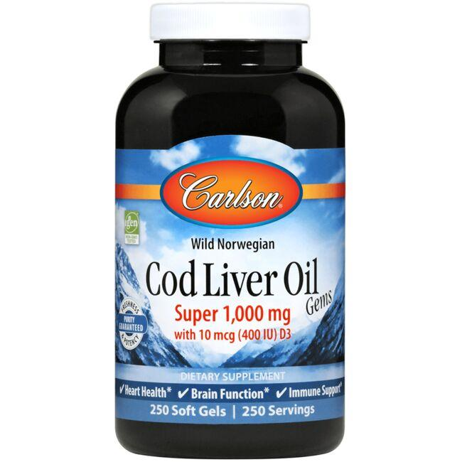 CarlsonSuper Wild Norwegian Cod Liver Oil Gems