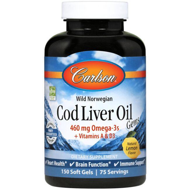 CarlsonWild Norwegian Cod Liver Oil Gems - Lemon