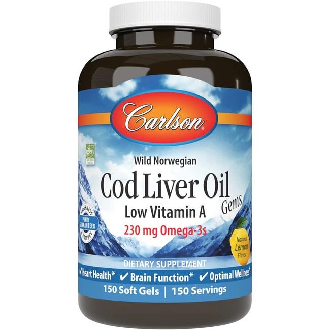 Carlson Cod Liver Oil Gems Low Vitamin A - Lemon
