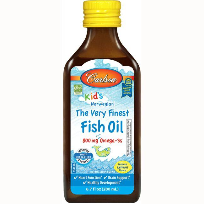 Carlson Kid 39 S The Very Finest Fish Oil Lemon 800 Mg 6 7
