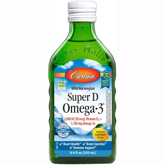 Carlson Norwegian Super D Omega-3 - Natural Lemon Flavor