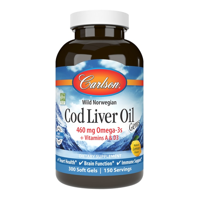 Carlson cod liver oil gems lightly lemon 1 000 mg 300 for Carlson s fish oil lemon