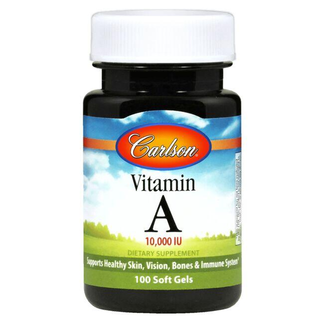 10,000 IU of vitamin A from fish liver oil and retinyl palmitate Supports skin, vision, bone and immune system health Potency and quality guaranteed Carlson Vitamin A 10,000 Iu 100 Soft Gels Sold by Swanson Vitamins