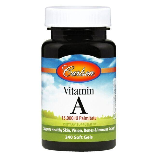 Vitamin A as retinyl palmitate Supports vision, skin & immune health Carlson Vitamin A Palmitate 15,000 Iu 240 Soft Gels Sold by Swanson Vitamins