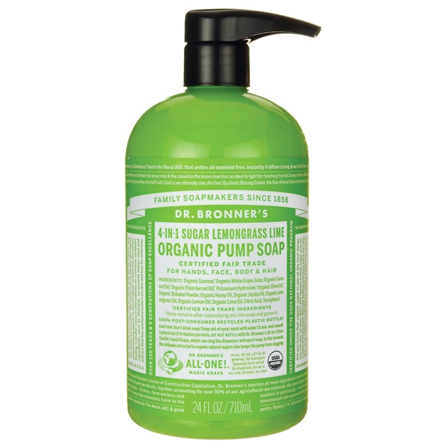 Dr. Bronner's4-IN-1 Sugar Lemongrass Lime Organic Pump Soap