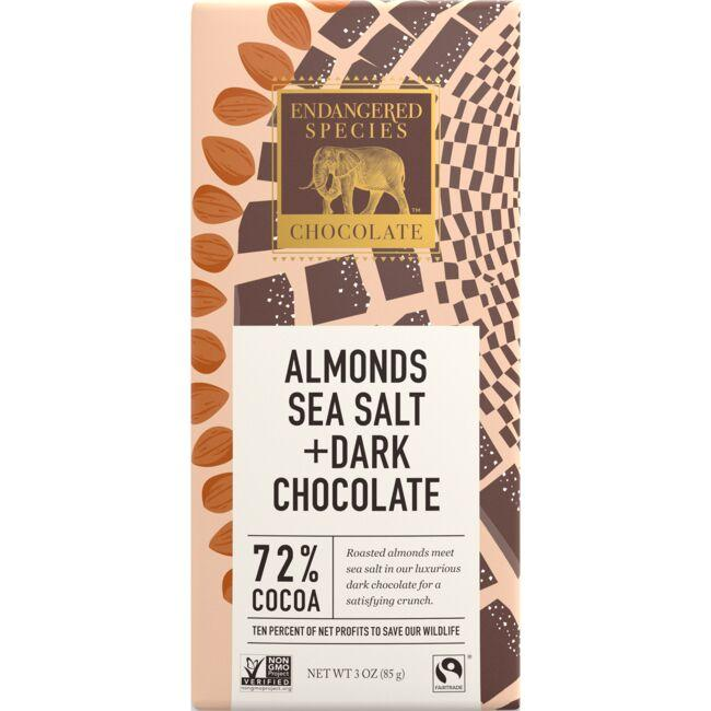 Endangered Species Chocolate Dark Chocolate Bar with Sea Salt & Almonds - 72% Cocoa