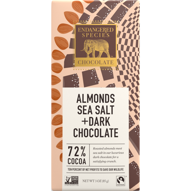 Endangered Species ChocolateDark Chocolate Bar with Sea Salt & Almonds - 72% Cocoa