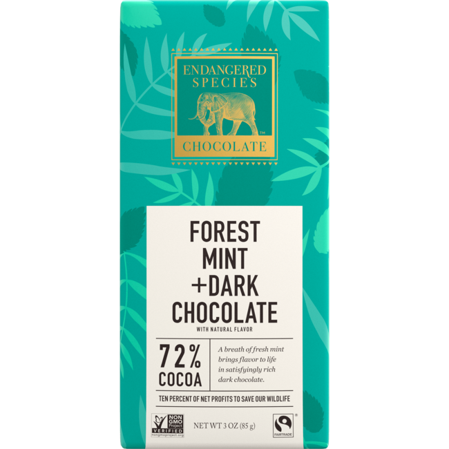 Endangered Species ChocolateDark Chocolate with Forest Mint 72% Cocoa