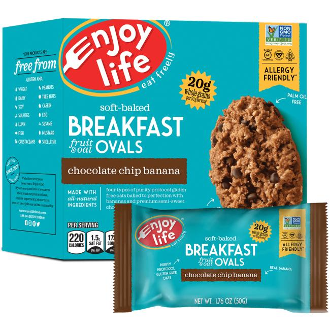 Enjoy Life Soft-Baked Breakfast Fruit & Oat Ovals - Chocolate Chip Banana
